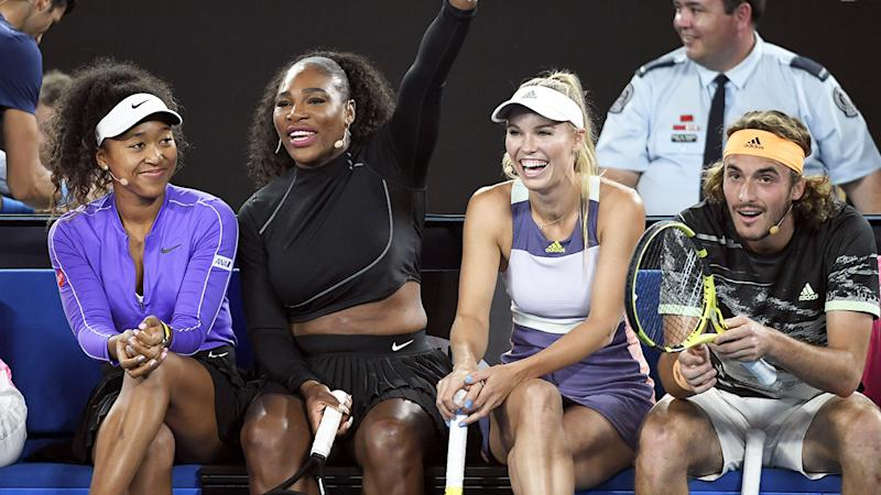 Naomi Osaka, Serena Williams, Caroline Wozniacki and Stefanos Tsitsipas, pictured here during the Rally for Relief.