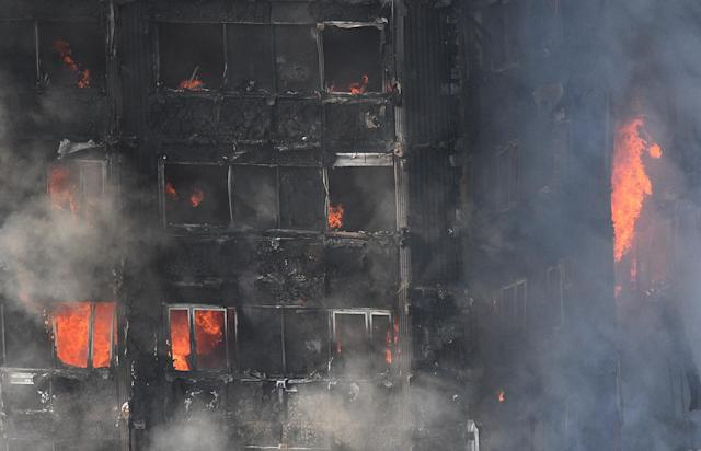 <p>A view on the burningd Grenfell Tower, a 24-storey apartment block in North Kensington, London, Britain, June 14, 2017. According to the London Fire Brigade (LFB), 40 fire engines and 200 firefighters are working to put out the blaze. Residents in the tower were evacuated, a number of people were treated for a 'range of injuries,' and six people have died in a fire, Metropolitan Police said. The blaze broke out at around 1:00 am GMT. (Facundo Arrizabalaga/EPA) </p>