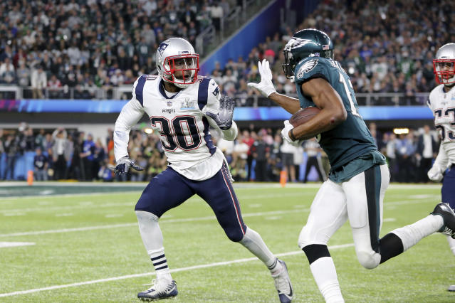 "<a class=""link rapid-noclick-resp"" href=""/nfl/teams/nwe/"" data-ylk=""slk:New England Patriots"">New England Patriots</a> Duron Harmon #30 in action against the <a class=""link rapid-noclick-resp"" href=""/nfl/teams/phi/"" data-ylk=""slk:Philadelphia Eagles"">Philadelphia Eagles</a> at Super Bowl 52 on Sunday, February 4, 2018 in Minneapolis. Philadelphia won the game 41-33.(AP Photo/Gregory Payan)"