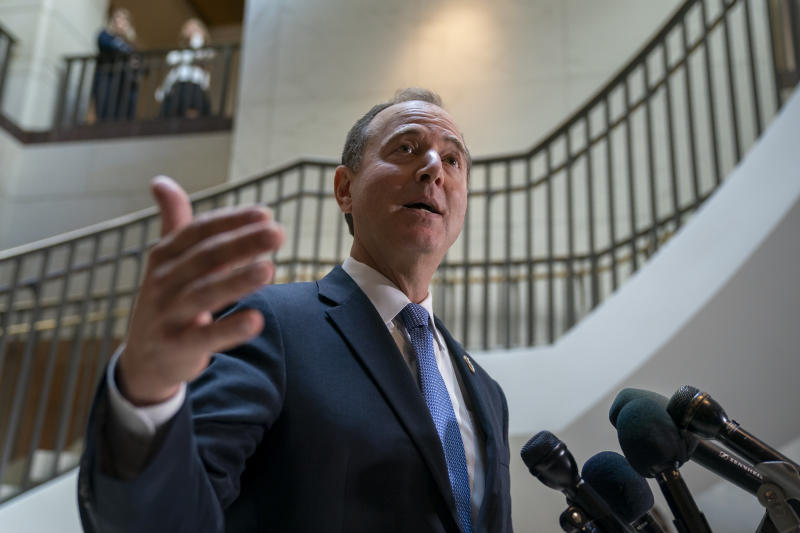 Rep. Adam Schiff, D-Calif., chairman of the House Intelligence Committee, speaks with reporters about a whistleblower complaint Thursday, Sept. 19, 2019, on Capitol Hill in Washington. Schiff says he cannot confirm a press report that said a whistleblower's complaint concerned a promise President Donald Trump made on a phone call to a foreign leader. (AP Photo/J. Scott Applewhite)