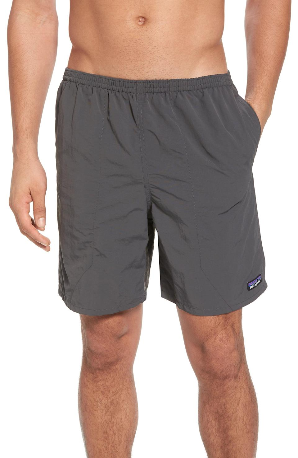 """<p><strong>PATAGONIA</strong></p><p><a href=""""https://go.redirectingat.com?id=74968X1596630&url=https%3A%2F%2Fwww.rei.com%2Fproduct%2F126804%2Fpatagonia-baggies-long-shorts-mens-7-inseam&sref=https%3A%2F%2Fwww.thepioneerwoman.com%2Fholidays-celebrations%2Fgifts%2Fg32883915%2Flast-minute-fathers-day-gifts%2F"""" rel=""""nofollow noopener"""" target=""""_blank"""" data-ylk=""""slk:Shop Now"""" class=""""link rapid-noclick-resp"""">Shop Now</a></p><p>These sleek, quick-drying trunks will keep him looking good all summer long. They're made from recycled nylon and have a mesh lining.</p>"""