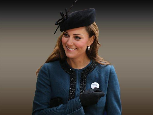 The Duchess of Cambridge wearing TFL's baby on board badge.