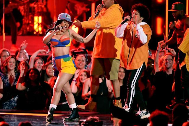 <p>Cardi B (left) and Bruno Mars perform onstage during the 60th Annual Grammy Awards at Madison Square Garden in New York City on January 28, 2018. (Photo: Getty Images) </p>