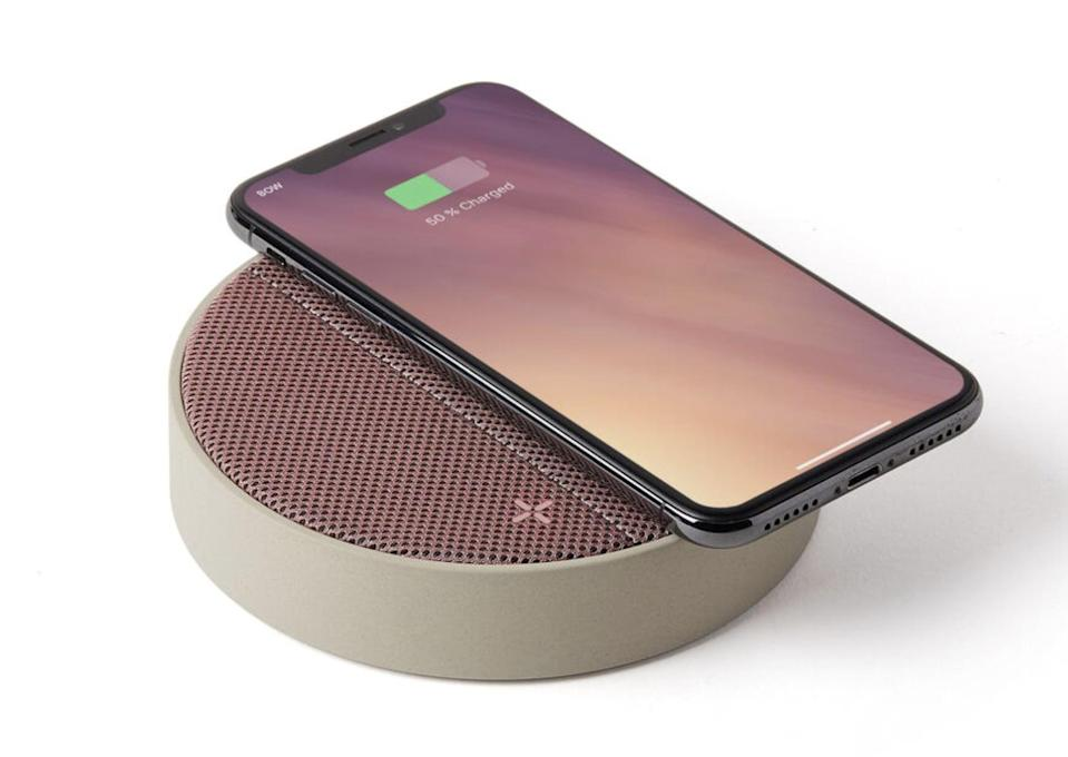 <p>Charge your phone while listening to your favorite playlist with the sleek <span>Oslo Energy Wireless Charging Pad &amp; Bluetooth Speaker</span> ($70).</p>
