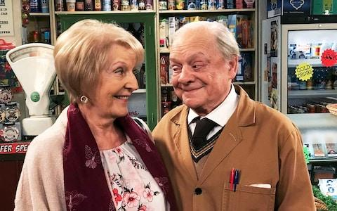 Maggie Ollerenshaw and David Jason open Arkwright's once more - Credit: Peter Edwards/BBC