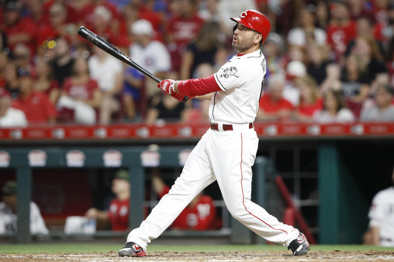 CINCINNATI, OH - AUGUST 09: Joey Votto #19 of the Cincinnati Reds hits a solo home run in the sixth inning against the Chicago Cubs at Great American Ball Park on August 9, 2019 in Cincinnati, Ohio. The Reds won 5-2. (Photo by Joe Robbins/Getty Images)