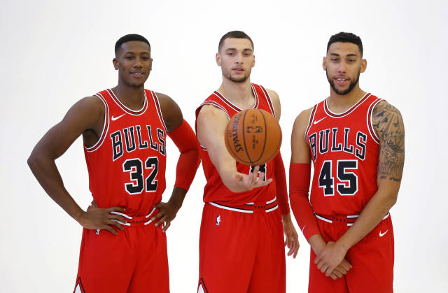 Kris Dunn, Zach LaVine and Denzel Valentine are the Bulls' new three alphas. (AP)