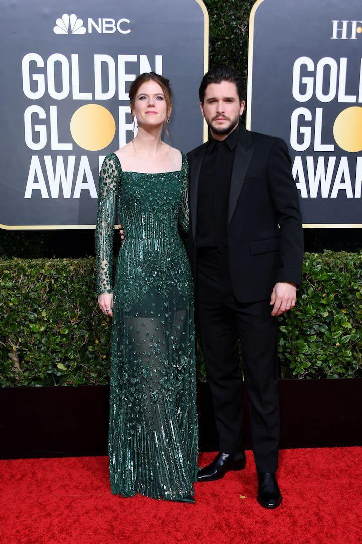 Kit Harington is wearing a black suit while Rose Leslie chose a sequinned gown by Elie Saab. <em>[Photo: Getty]</em>