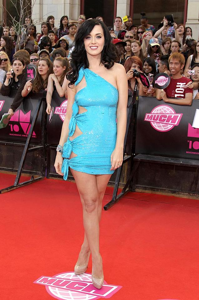 "Katy Perry showed some skin in a side-baring, knotted blue Ashish frock at the 2010 MuchMusic Video Awards in Toronto Sunday night. George Pimentel/<a href=""http://www.wireimage.com"" target=""new"">WireImage.com</a> - June 20, 2010"