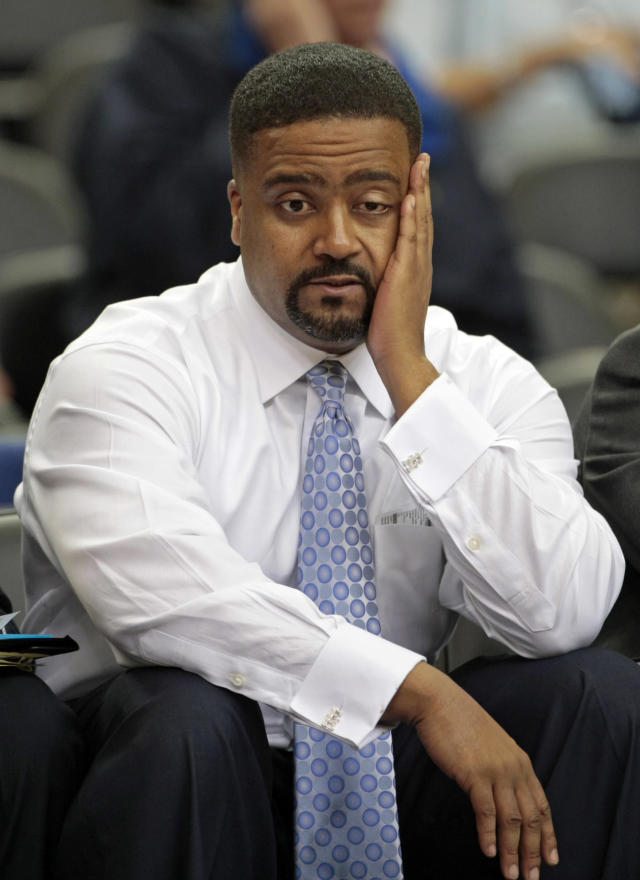 FILE - In this March 12, 2009, file photo, Miami coach Frank Haith reacts on the bench during the second half against Virginia Tech in an NCAA college basketball game at the Atlantic Coast Conference men's tournament in Atlanta. Missouri men's basketball coach Haith faces a 5-game suspension after the NCAA found he failed to monitor his former assistants' interactions with a disgraced Miami booster. The NCAA released the findings of its investigation into convicted felon Nevin Shapiro's relationship with Miami athletics on Tuesday, Oct. 22, 2013. It found that then-Miami coach Haith and an assistant coach provided Shapiro $10,000 after he threatened to expose previous improper contact with high school recruits and amateur coaches. (AP Photo/Dave Martin, File)