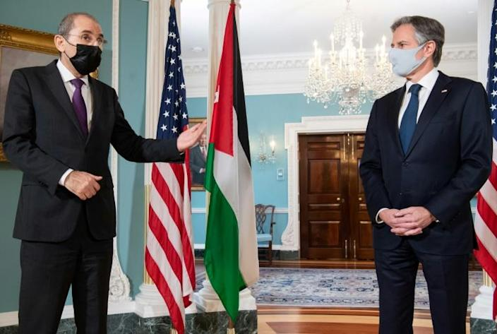 US Secretary of State Antony Blinken and Jordanian Foreign Minister Ayman Safadi speak prior to a meeting at the State Department