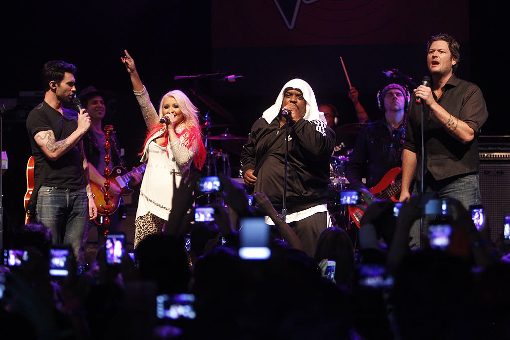 "Adam Levine, Ceelo, Christina Aguilera and Blake Shelton at a special live performance event celebrating the Top 12 artists of ""The Voice"" on November 8, 2012 at the House of Blues in Hollywood, CA."