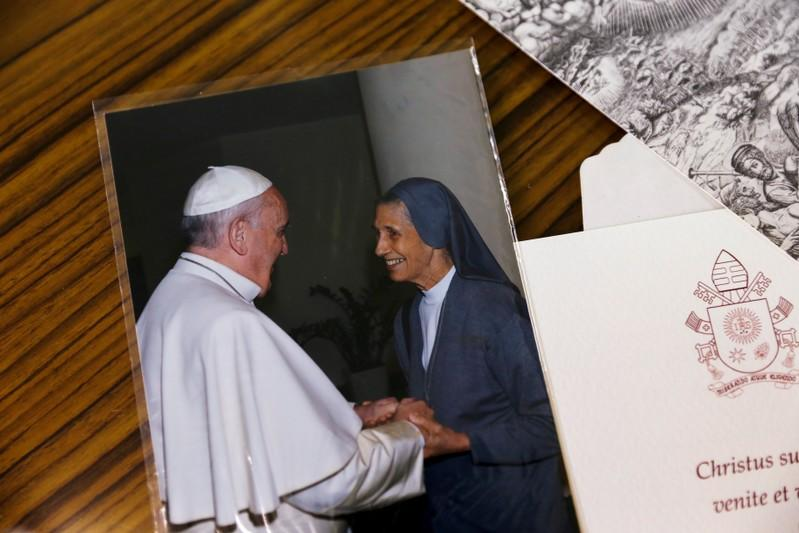 A picture of Pope Francis and Sister Ana Rosa Sivori is seen at the St. Mary School in Udon Thani province