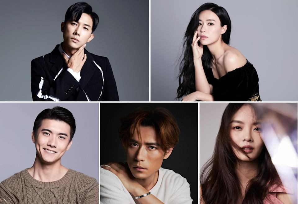 (Clockwise from top left) Mediacorp artistes Desmond Tan, Rebecca Lim, Chantalle Ng, James Seah and Zhang Ze Tong will be represented by Bohemia Group internationally.