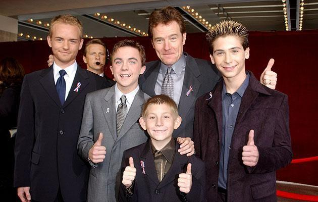 Frankie with his Malcolm in the Middle co-stars, including Bryan Cranston. Source: Getty