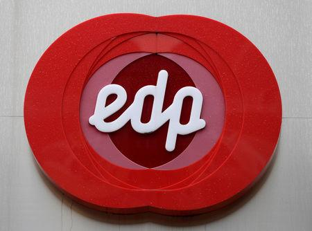 FILE PHOTO: The logo of Portuguese utility company EDP - Energias de Portugal is seen at the company's offices in Oviedo