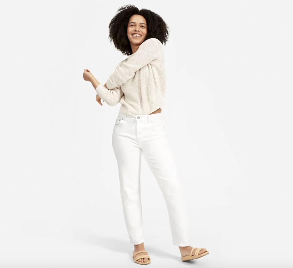 <p>If you're looking for a lighter wash, there's no doubt you need to try the <span>Everlane Super-Soft Relaxed Jeans</span> ($78). If white isn't for you, the style comes in two other blue washes, too.</p>