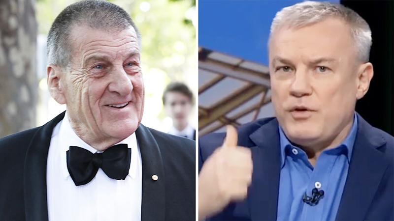 Hawthorn president Jeff Kennett and NRL journalist Paul Kent are pictured in a 50/50 split image.