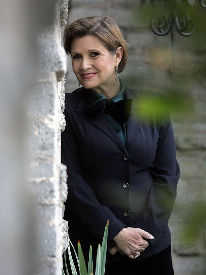 Carrie Fisher promoted her one-woman-show, <em>Wishful Drinking</em>, in Los Angeles in 2006.