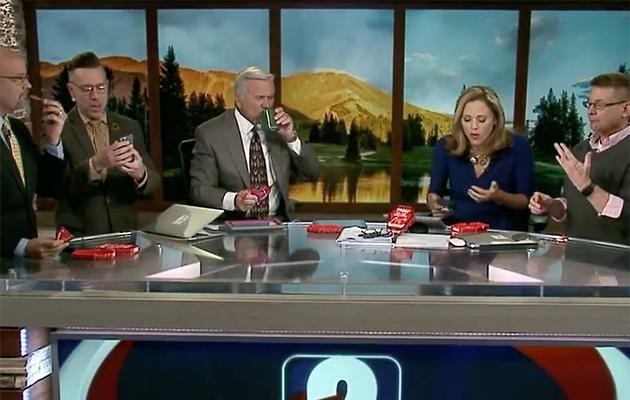 KGWN news anchor Natalie Tysdal did the one chip challenge live on TV. Photo: KGWN