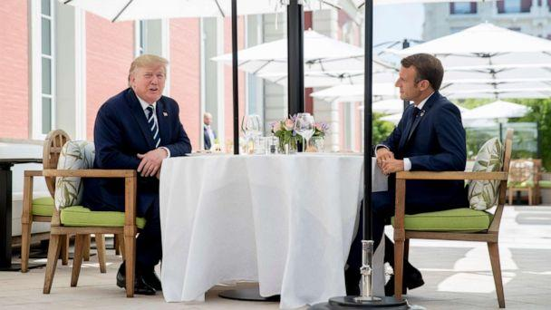 PHOTO: U.S President Donald Trump sits for lunch with French President Emmanuel Macron, right, at the Hotel du Palais in Biarritz, south-west France, Saturday Aug. 24, 2019. (Andrew Harnik/AP Photo)