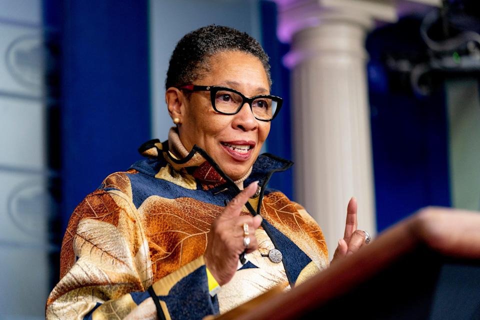Housing and Urban Development Secretary Marcia Fudge speaks at a press briefing at the White House, Thursday, March 18, 2021, in Washington.