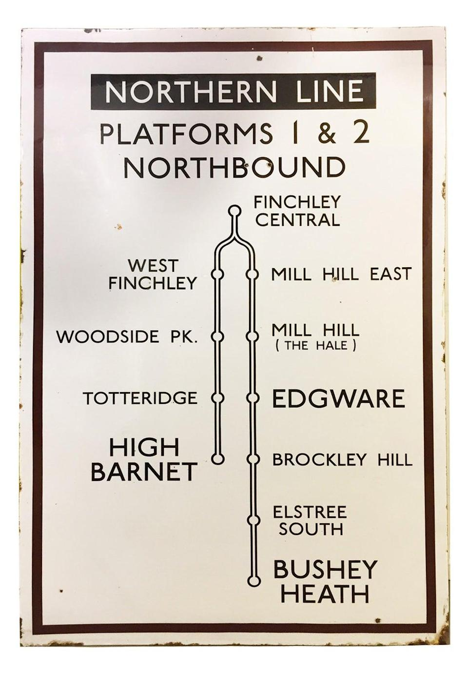 The Northern Line extension to Bushey Heath never happened but it did not stop signs being made. The enamel sign is expected to sell for between £800 and £1200 (Catherine Southon Auctioneers & Valuers/PA)