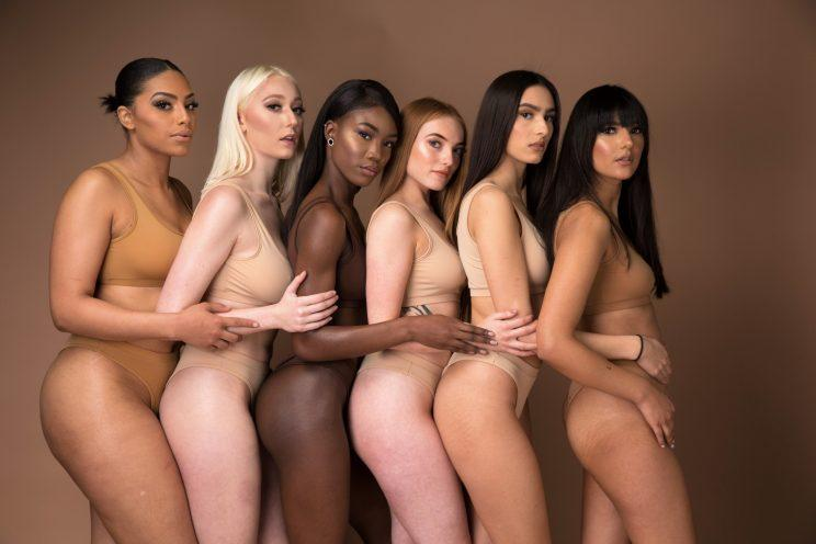 Six models wear undergarments matched to their skin tone.