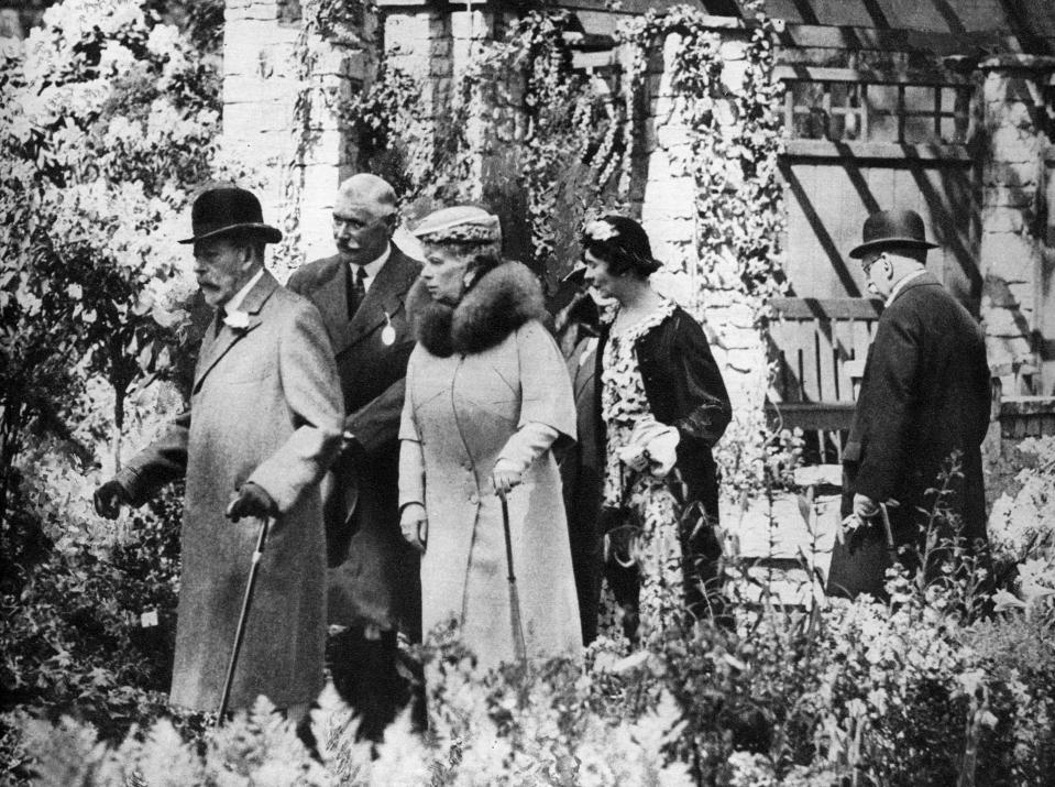King George V and Queen Mary at the Chelsea Flower Show, London, 1930s. Illustration from George V and Edward VIII, A Royal Souvenir, by FGH Salusbury, a souvenir book published as Edward VIII was crowned following the death of his father, George V, (Daily Express Publication, London, 1936). (Photo by The Print Collector/Print Collector/Getty Images)