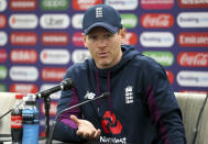 England's Eoin Morgan speaks during a press conference at The Oval, London, Wednesday May 29, 2019 on the eve of the opening match of the Cricket World Cup. (Nigel French/PA via AP)