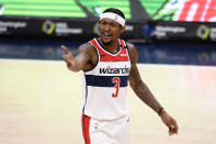 Washington Wizards guard Bradley Beal (3) gestures during the first half of an NBA basketball game against the Chicago Bulls, Tuesday, Dec. 29, 2020, in Washington. (AP Photo/Nick Wass)