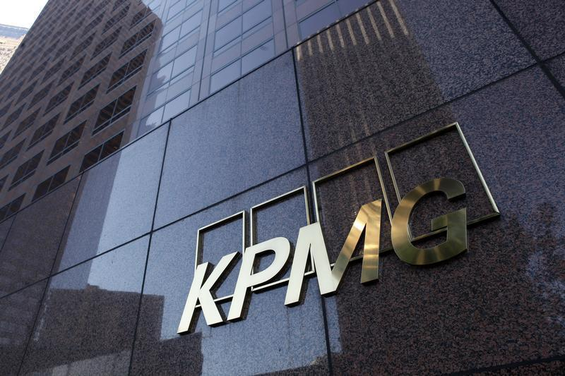 Street level sign on the KPMG building in Downtown Los Angeles