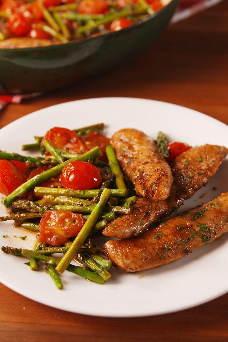 """<p>This one-pan meal is one of our most frequented weeknight dinners. What's not to love? It's healthy, easy, and it has the BEST SAUCE EVER.</p><p>Get the <a href=""""https://www.delish.com/uk/cooking/recipes/a29482782/one-pan-balsamic-chicken-and-asparagus-recipe/"""" rel=""""nofollow noopener"""" target=""""_blank"""" data-ylk=""""slk:One-Pan Balsamic Chicken and Asparagus"""" class=""""link rapid-noclick-resp"""">One-Pan Balsamic Chicken and Asparagus</a> recipe.</p>"""