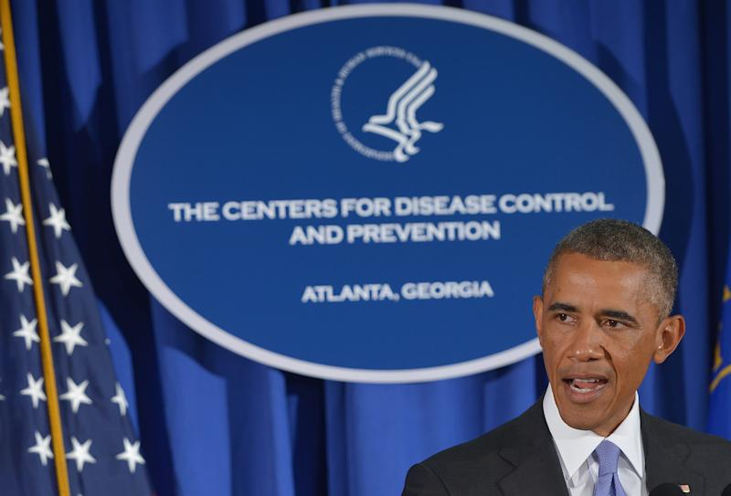 US President Barack Obama speaks at the Centers for Disease Control and Prevention on September 16, 2014 in Atlanta, Georgia (AFP Photo/Mandel Ngan)