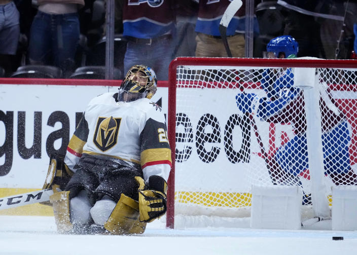 Vegas Golden Knights goaltender Marc-Andre Fleury (29) reacts to giving up a goal to the Colorado Avalanche during the first period of Game 2 of an NHL hockey Stanley Cup second-round playoff series Wednesday, June 2, 2021, in Denver. (AP Photo/Jack Dempsey)