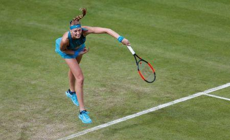 Tennis - WTA Premier - Nature Valley Classic - Edgbaston Priory Club, Birmingham, Britain - June 19, 2018 Czech Republic's Petra Kvitova in action during her first round match against Great Britain's Johanna Konta Action Images via Reuters/Ed Sykes