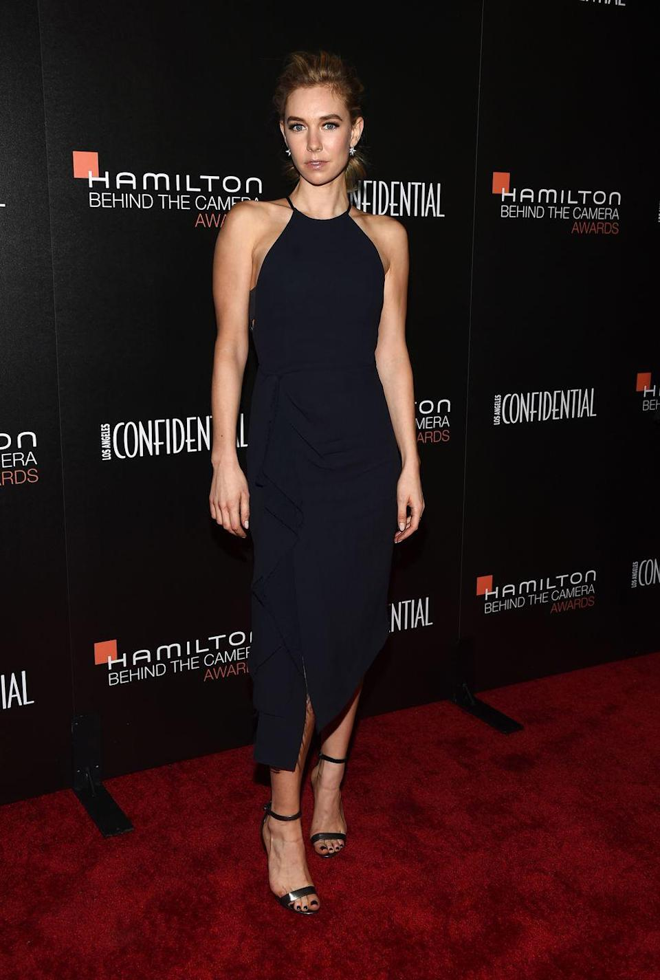 <p>Kirby wears a chic dress on the red carpet for the Hamilton Behind the Camera Awards.</p>