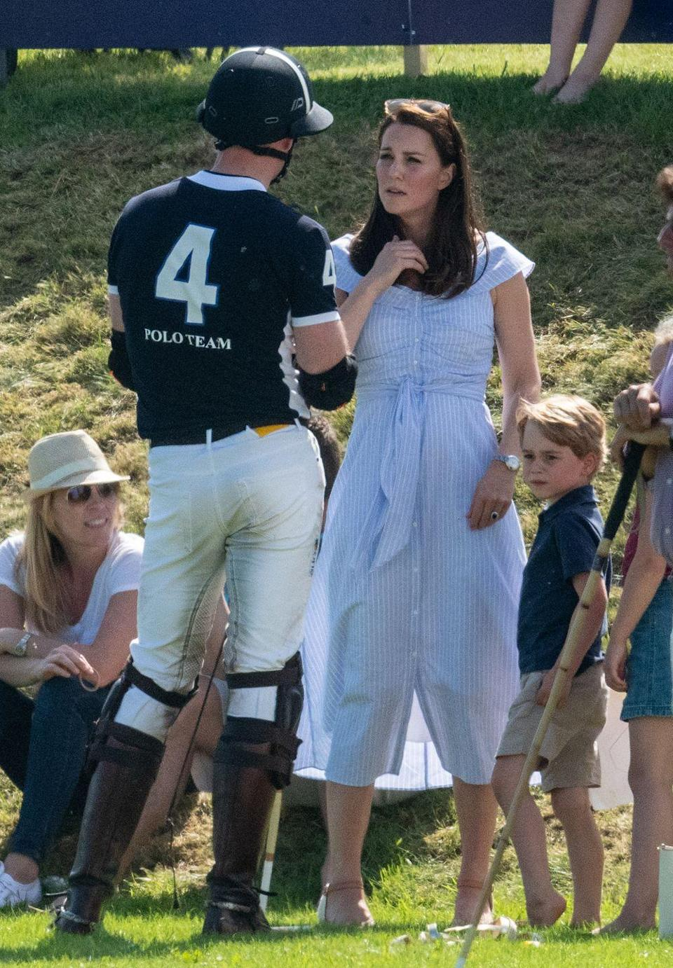 """<p>Duchess Kate wore another blue dress just hours after the Trooping the Colour parade! <a href=""""https://www.townandcountrymag.com/society/tradition/a21252562/kate-middleton-zara-blue-striped-dress-polo-match/"""" rel=""""nofollow noopener"""" target=""""_blank"""" data-ylk=""""slk:The Duchess wore a $70 off-the-shoulder dress by Zara"""" class=""""link rapid-noclick-resp"""">The Duchess wore a $70 off-the-shoulder dress by Zara</a> with espadrilles and sunglasses while attending Prince William's charity polo match with Prince George and Princess Charlotte. </p><p><a class=""""link rapid-noclick-resp"""" href=""""https://go.redirectingat.com?id=74968X1596630&url=https%3A%2F%2Fwww.zara.com%2Fus%2Fen%2Fstriped-off-the-shoulder-dress-p04043095.html&sref=https%3A%2F%2Fwww.townandcountrymag.com%2Fstyle%2Ffashion-trends%2Fnews%2Fg1633%2Fkate-middleton-fashion%2F"""" rel=""""nofollow noopener"""" target=""""_blank"""" data-ylk=""""slk:SHOP NOW"""">SHOP NOW</a> Zara <em>Striped Off-the-Shoulder Dress, $69.90 </em><br></p>"""
