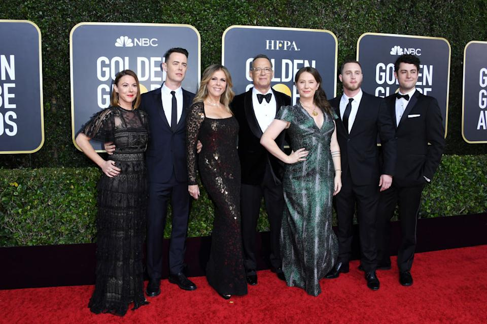 Chet Hanks, second from right, attends the Golden Globes with his family on Jan. 5, 2020, in Beverly Hills, Calif. (Photo: Jon Kopaloff/Getty Images)