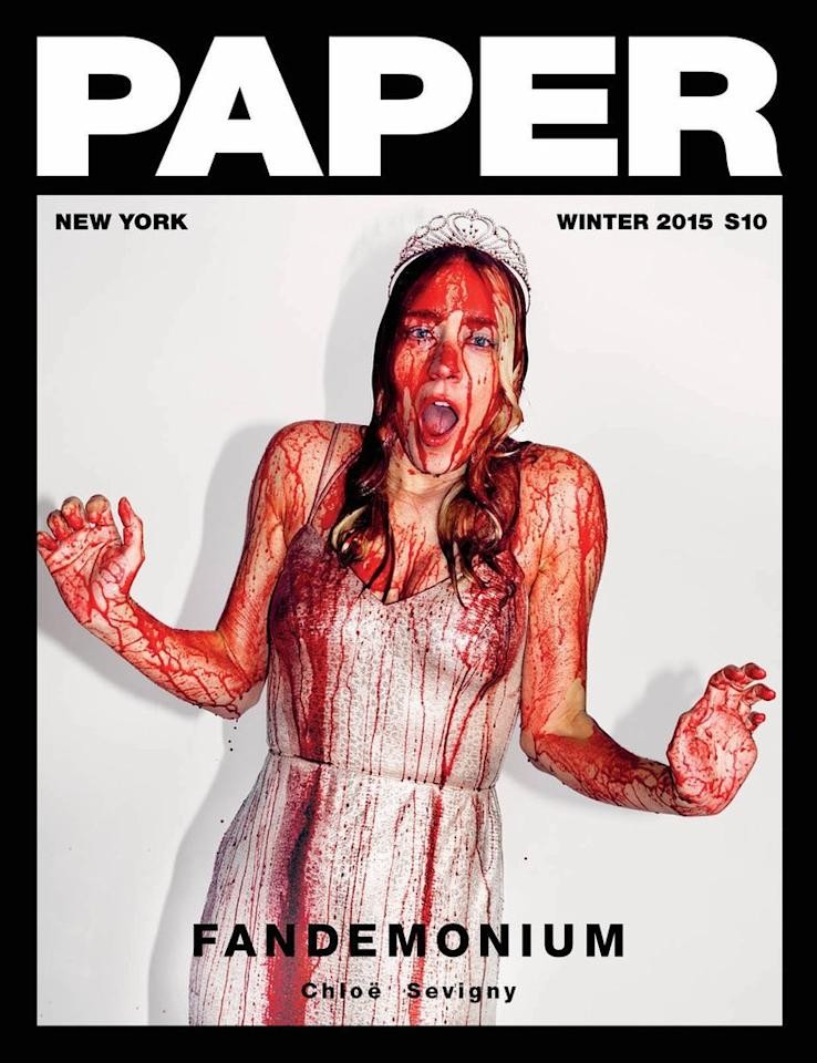 <p>The 'American Horror Story' star channelled Carrie in her 'Fanemonium' shoot. <em>[Photo: Paper magazine] </em> </p>