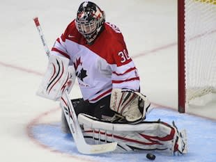 Niagara Ice Dogs and Canada goalie Mark Visentin — Getty Images