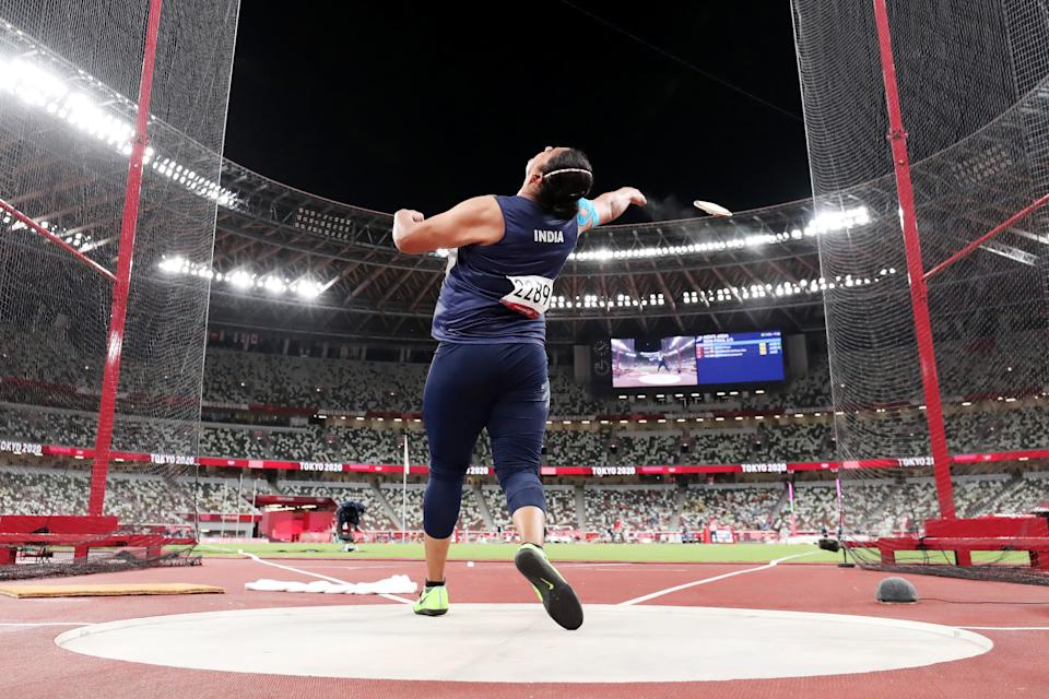 TOKYO, JAPAN - AUGUST 02: Kamalpreet Kaur of Team India competes in the Women's Discus Final on day ten of the Tokyo 2020 Olympic Games at Olympic Stadium on August 02, 2021 in Tokyo, Japan. (Photo by Christian Petersen/Getty Images)