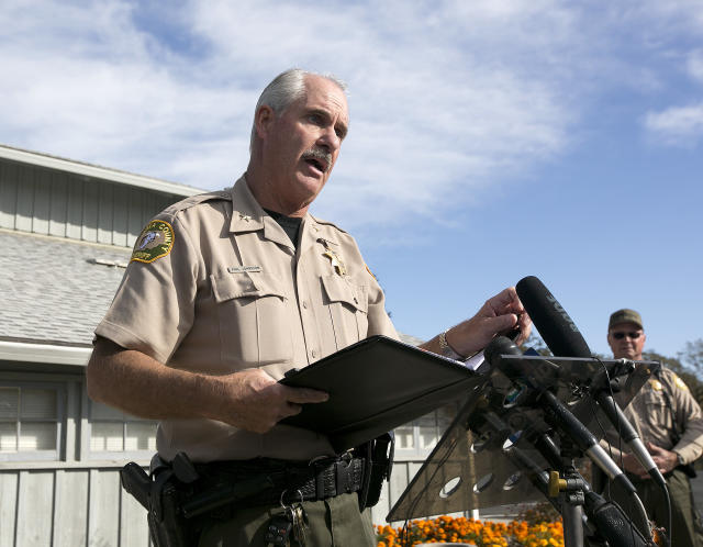 <p>Phil Johnston, the assistant sheriff for Tehama County, briefs reporters on the shootings near the Rancho Tehama Elementary School, Tuesday, Nov. 14, 2017, in Corning, Calif. Authorities said, a gunman choosing targets at random, opened fire in a rural Northern California town Tuesday, killing four people at several sites and wounding others at the elementary school before police shot him dead. (AP Photo/Rich Pedroncelli) </p>