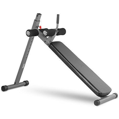 """<p><strong>XMark Fitness</strong></p><p>amazon.com</p><p><strong>$173.00</strong></p><p><a href=""""https://www.amazon.com/dp/B004OVJMDC?tag=syn-yahoo-20&ascsubtag=%5Bartid%7C2089.g.36494726%5Bsrc%7Cyahoo-us"""" rel=""""nofollow noopener"""" target=""""_blank"""" data-ylk=""""slk:Shop Now"""" class=""""link rapid-noclick-resp"""">Shop Now</a></p><p>A weight bench isn't just for bench presses; an adjustable, declining bench also allows for all kinds of abs exercise variations. Hook your legs through the handlebars, and all of a sudden your crunches will feel a whole lot harder. </p><p>This one has 12 levels of decline adjustment, and the more intense you make the grade, the harder your core will have to work. Don't worry about flipping over (even if you add weight!) — it's made from heavy-duty steel.</p>"""