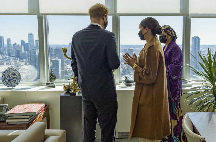 In this photo provided by the United Nations, U.S. Deputy Secretary-General Amina Mohammed, right, Meghan Markle, center, and Prince Harry meet during a visit to U.N. headquarters during the the 76th session of the United Nations General Assembly on Saturday, Sept. 25, 2021. (Manuel Elías/U.N. via AP)