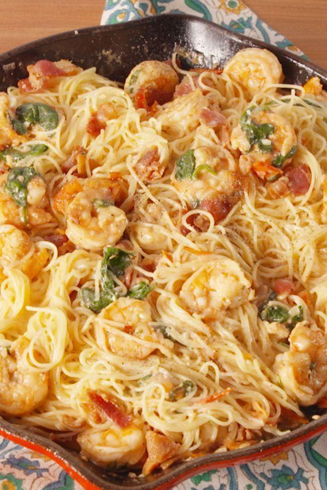 """<p>This is all we're making from now until forever.</p><p>Get the <a href=""""https://www.delish.com/uk/cooking/recipes/a32776738/bacon-shrimp-pasta-recipe/"""" rel=""""nofollow noopener"""" target=""""_blank"""" data-ylk=""""slk:Bacon Prawn Pasta"""" class=""""link rapid-noclick-resp"""">Bacon Prawn Pasta</a> recipe.</p>"""
