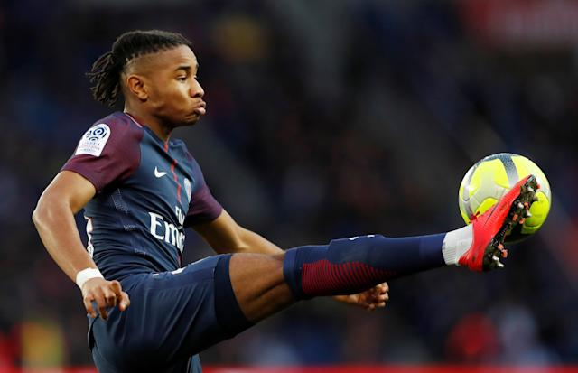 Soccer Football - Ligue 1 - Paris St Germain vs Angers - Parc des Princes, Paris, France - March 14, 2018 Paris Saint-Germain's Christopher Nkunku in action REUTERS/Gonzalo Fuentes