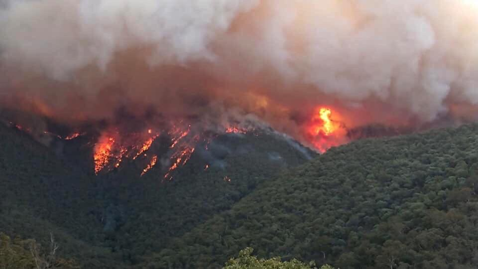 Massive fire burning at East Gippsland, Victoria, shown from above.