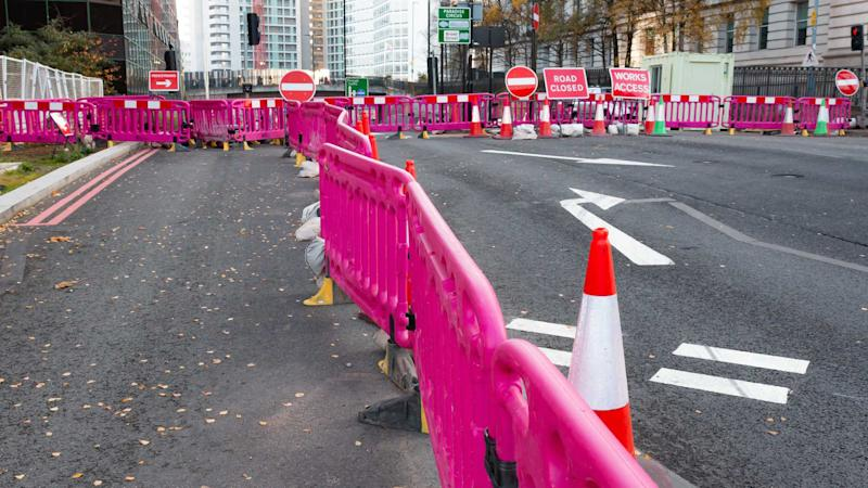 Roadworks on a main road in central Birmingham