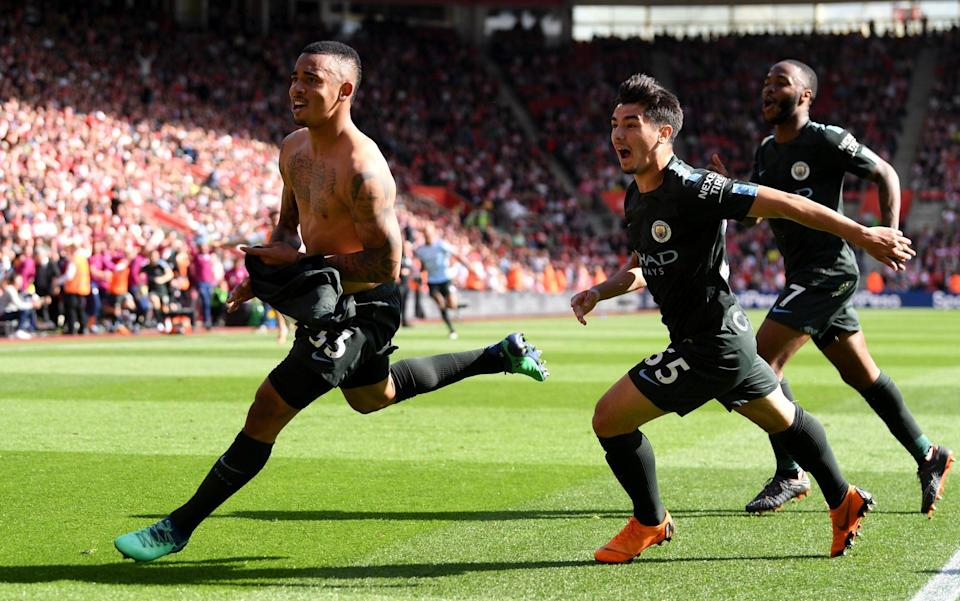 Gabriel Jesus scored the winner off the bench in the 94th minute to take Manchester City to 100 points for the season.